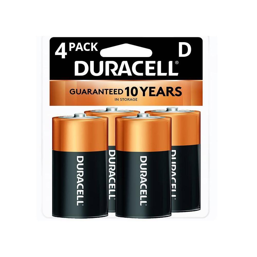 Duracell Coppertop D Batteries 4 Pack Alkaline Battery