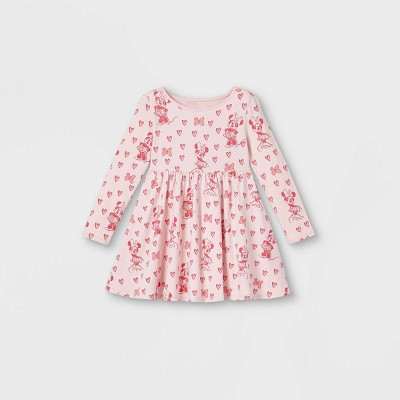 Toddler Girls' Minnie Mouse Hearts Valentine's Day Knit Long Sleeve Dress - Pink