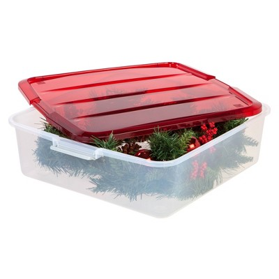 "IRIS 20"" 3pk Wreath Box Pearl Red"