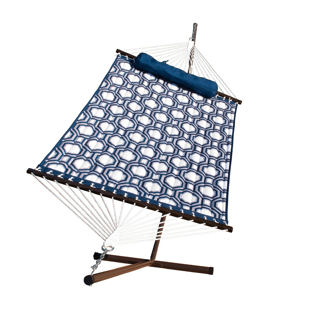 Image of 12' Hammock Combo - Metal Stand, Fabric Hammock, Pillow - Blue - Algoma