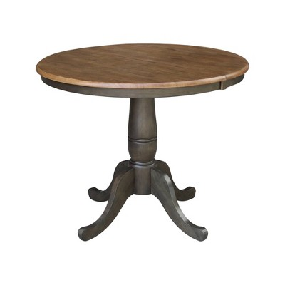 "36"" Kyle Round Top Table with Leaf Tan/Washed Coal - International Concepts"