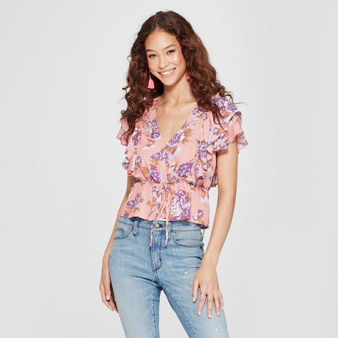 Women's Floral Print Short Sleeve V-Neck Flounce Top - Soul Cake (Juniors') Mauve - image 1 of 2