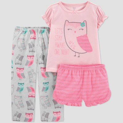 Baby Girls' 3pc Poly Owl Pajama Set - Just One You® made by carter's Gray/Pink 12M