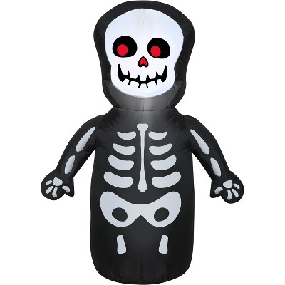 Gemmy Airblown Happy Skeleton, 3.5 ft Tall, Multicolored