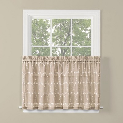 "Saturday Knight Ltd Briarwood Collection High Quality Stylish Delicate & Filmy 2-Piece Window Tiers - 57""x36"" in Wheat Color"