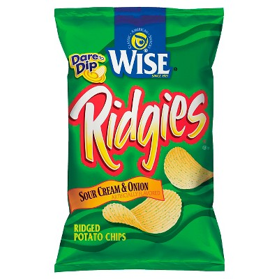 Wise Ridgies Sour Cream & Onion Ridged Potato Chips - 8.75oz