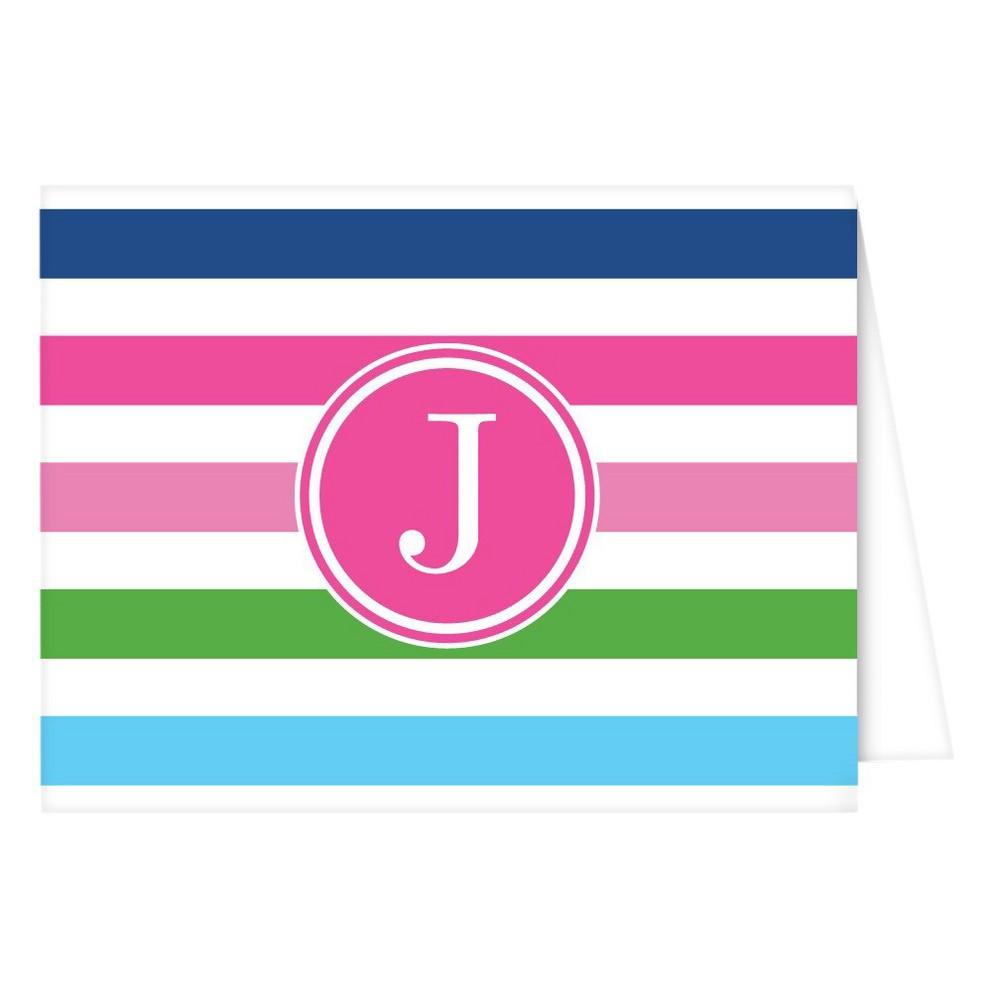 Folded Notes - Preppy Stripe Monogram - J, Multicolored