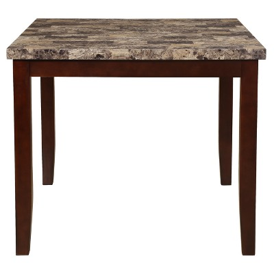 Eddie Counter Height Faux Marble Table Cherry Brown Home Source   Home  Source Industries