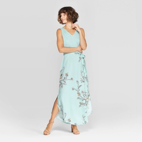Women's Floral Print Sleeveless V-Neck Woven Maxi - A New Day™ Turquoise - image 1 of 3