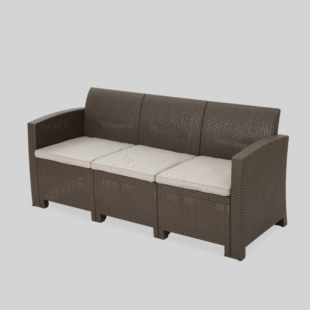 St. Paul Wicker Outdoor Patio Sofa - Brown - Christopher Knight Home
