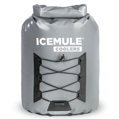 IceMule 1014-Grey Pro Large Collapsible Portable Soft Sided Roll Top 23 Liter 18 Can Lightweight Insulated Waterproof Cooler