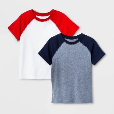 Toddler Boys' 2pk Short Sleeve Baseball Raglan T-Shirt - Cat & Jack™ Navy/Red
