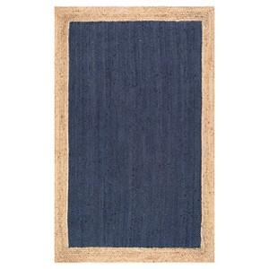 Blue Solid Loomed Area Rug - (2