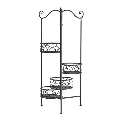 Nature Spring 4-Tier Plant Stand - Black Wrought Iron