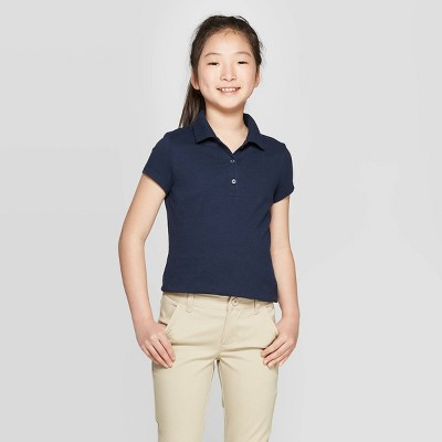 Girls' Short Sleeve Jersey Uniform Polo Shirt - Cat & Jack™ Navy