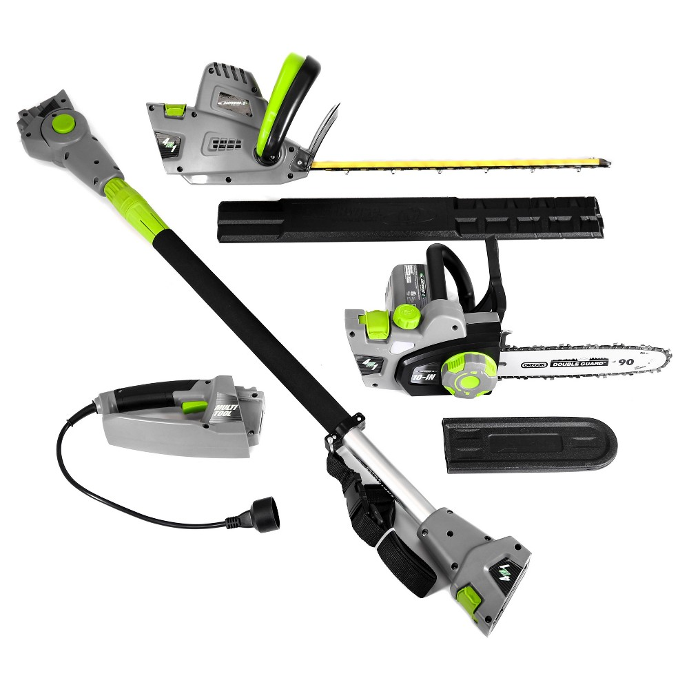 Image of 4 In 1 Multi Tool - 120 Volts And 468 Watts Chain Saw, Hedge Trimmer, Pole Saw And Pole Hedge Trimmer - Gray - Earthwise