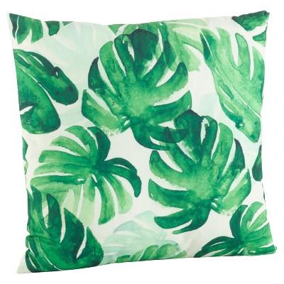 """18""""x18"""" Tropical Leaf Poly Filled Print Throw Pillow Green - Saro Lifestyle"""