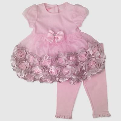 Baby Grand Signature Baby Girls' Rosette Dress and Leggings Set - Pink 0-3M