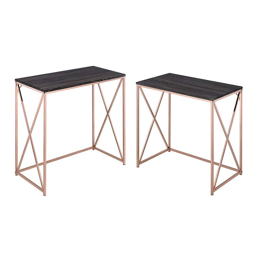 Image of 2pc Desk Set Comprising Gray/Copper - Benzara