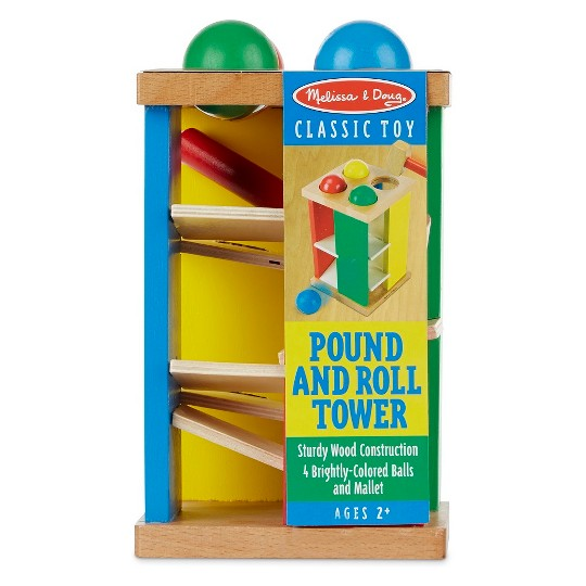 Melissa & Doug Deluxe Pound and Roll Wooden Tower Toy With Hammer image number null