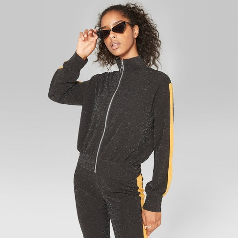 Women's Striped Long Sleeve Glitter Track Jacket - Wild Fable™ Black S - image 1 of 3