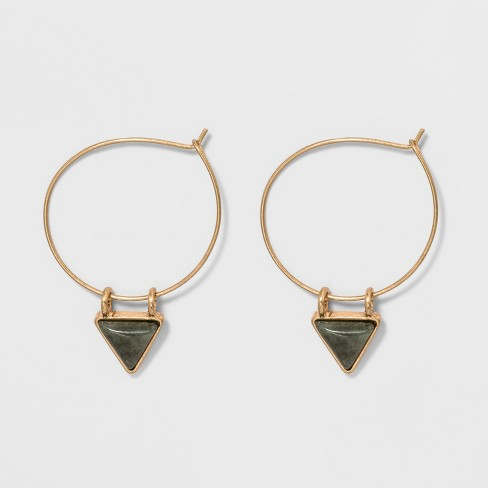 Triangular Stone Charm Hoop Earrings - Universal Thread™ - image 1 of 1