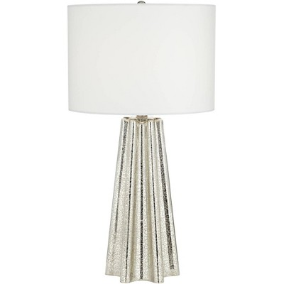 360 Lighting Modern Table Lamp Fluted Mercury Glass White Drum Shade for Living Room Family Bedroom Bedside Nightstand