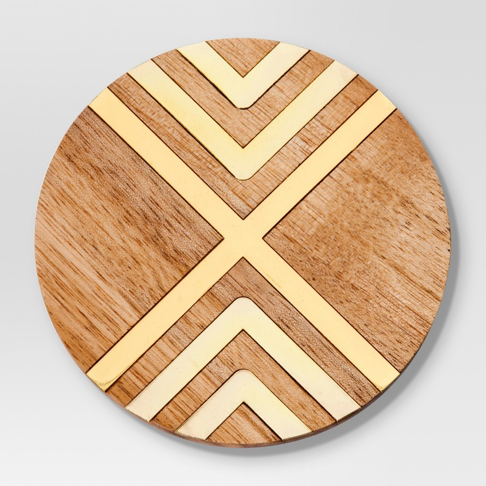 Image of Set of 4 Coasters Natural Acacia with Gold Metal - Threshold, Brown