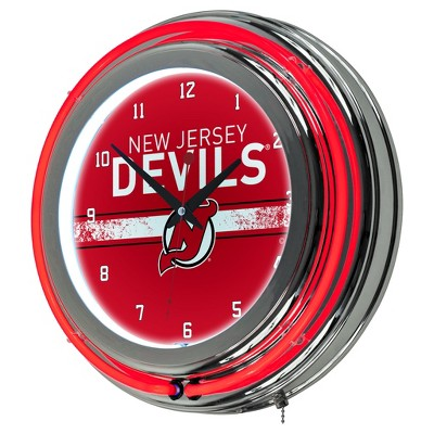 NHL New Jersey Devils Chrome Double Rung Neon Clock