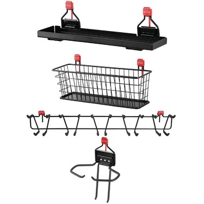 Rubbermaid Outdoor Storage Accessory Shelf (1 Pack); Mounted Basket Organizer (1 Pack); Tool Holder Accessory (1 Pack); 34 Inch Tool Rack (1 Pack)