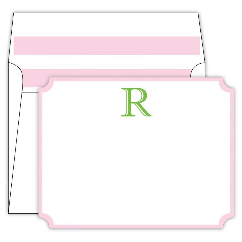 RosanneBECK Collections White Die-Cut Social Set Cabana Stripe Monogram - R