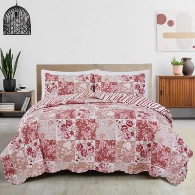 Great Bay Home Floral Patchwork Reversible Quilt Set
