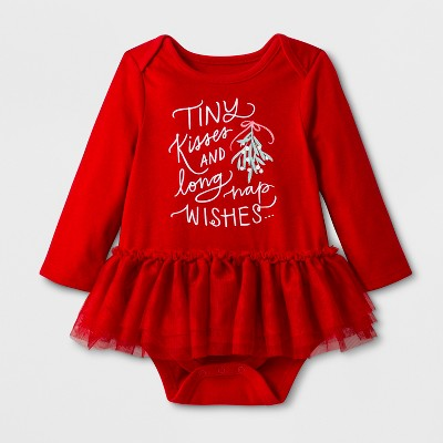 Baby Girls' Long Sleeve Kisses and Wishes Tutu Romper - Cat & Jack™ Wowzer Red Newborn