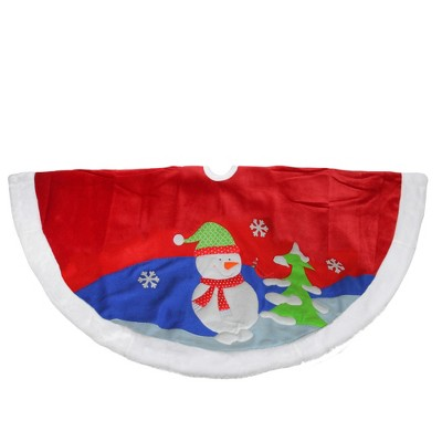 """Northlight 48"""" Red Fleece Christmas Snowman Winter Tree Skirt with White Faux Fur Trim"""