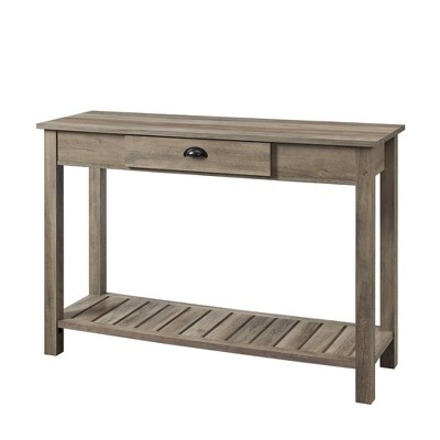 Rustic Farmhouse Entry Table with Lower Shelf Gray Wash - Saracina Home