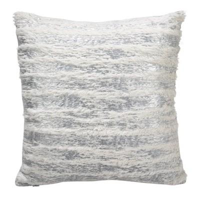 """15""""x15"""" Down Filled Foil Print Faux Fur Throw Pillow Silver - Saro Lifestyle"""