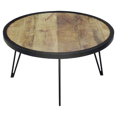Reclaimed Wood Round Coffee Table Large 18h X 35w X 35d