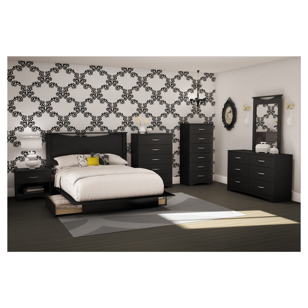 Step One Platform Bed with Drawers - Full - Queen - Pure Black - South Shore