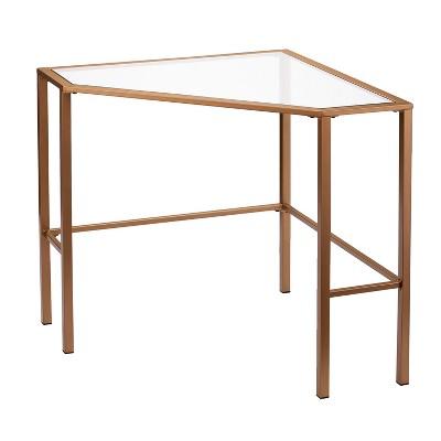 Keylon Metal/Glass Corner Desk Gold - Aiden Lane