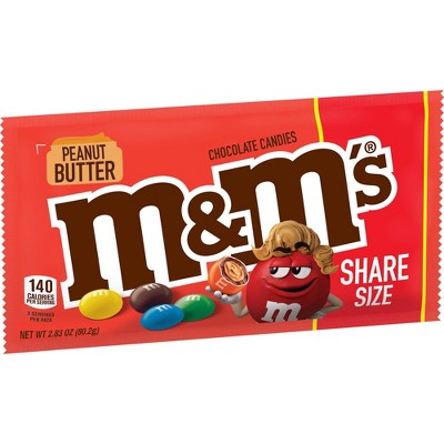 M&M's Peanut Butter Share Size Chocolate Candies - 2.83oz