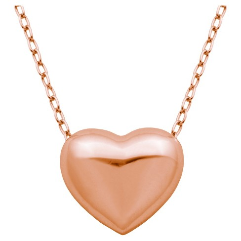 "14k Rose Gold Puff Heart 18"" Necklace - image 1 of 2"