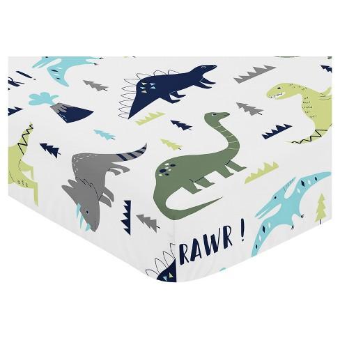 Sweet Jojo Designs Fitted Crib Sheet - Blue & Green Mod Dino - image 1 of 2