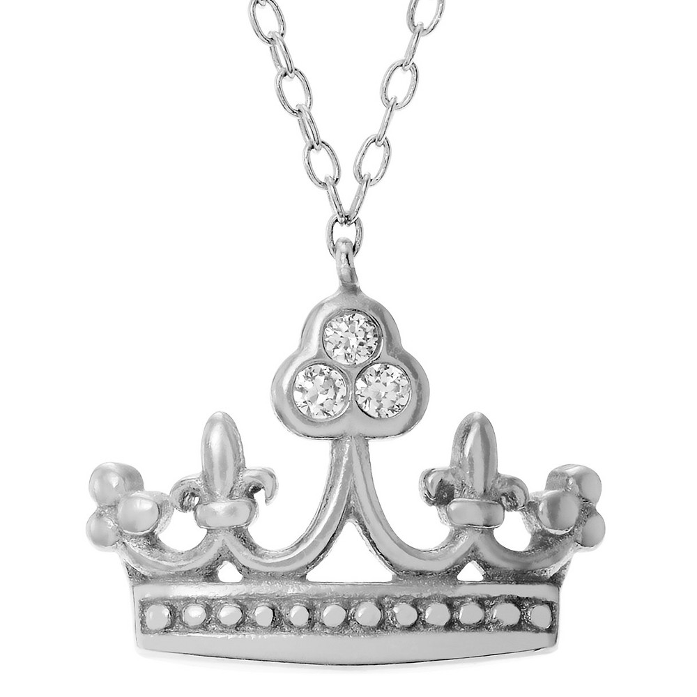 0.03 CT. T.W. Round-cut CZ Bezel Set Accent Crown Pendant Necklace in Sterling Silver - Gold (18), Girl's