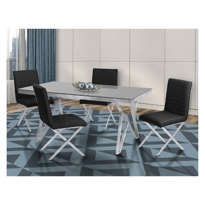 Mirage Contemporary Dining Table In Brushed Stainless Steel And Gray  Tempered Glass Top   Armen Living : Target