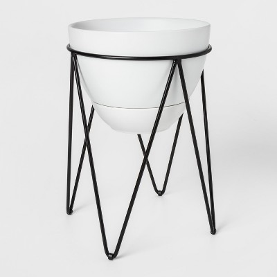 11.8  x 9.1  Ceramic Planter With Metal Stand White/Black - Project 62™