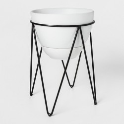 Ceramic Planter With Metal Stand White/Black - Project 62™