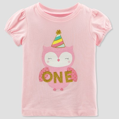 Baby Girls' 1 Owl Short sleeve T - Shirt - Just One You® made by carter's Pink 18M