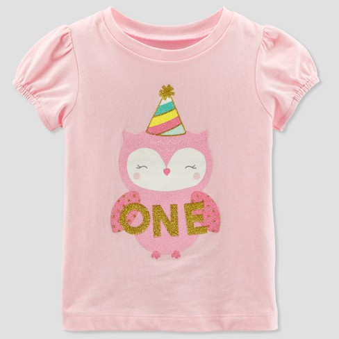 Baby Girls' 1 Owl Short sleeve T - Shirt - Just One You® made by carter's Pink - image 1 of 1