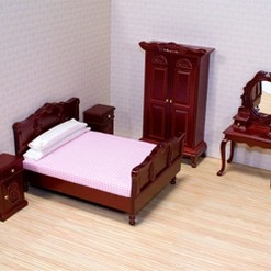 Melissa & Doug Classic Victorian Wooden and Upholstered Dollhouse Bedroom Furniture 6 pc