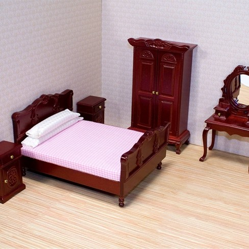 Melissa Doug Classic Victorian Wooden And Upholstered Dollhouse Bedroom Furniture 6 Pc Target